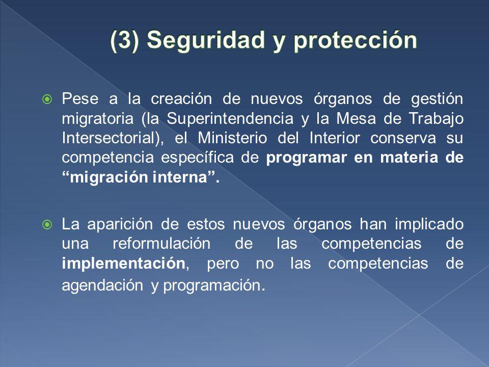 Pese a la creación de nuevos órganos de gestión migratoria (la Superintendencia y la Mesa de Trabajo Intersectorial), el Ministerio del Interior conserva su competencia específica de programar en materia de migración interna.