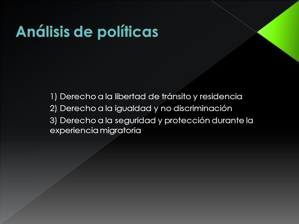 1) Derecho a la libertad de tránsito y residencia 2) Derecho a la igualdad y no discriminación 3) Derecho a la seguridad y protección durante la experiencia migratoria