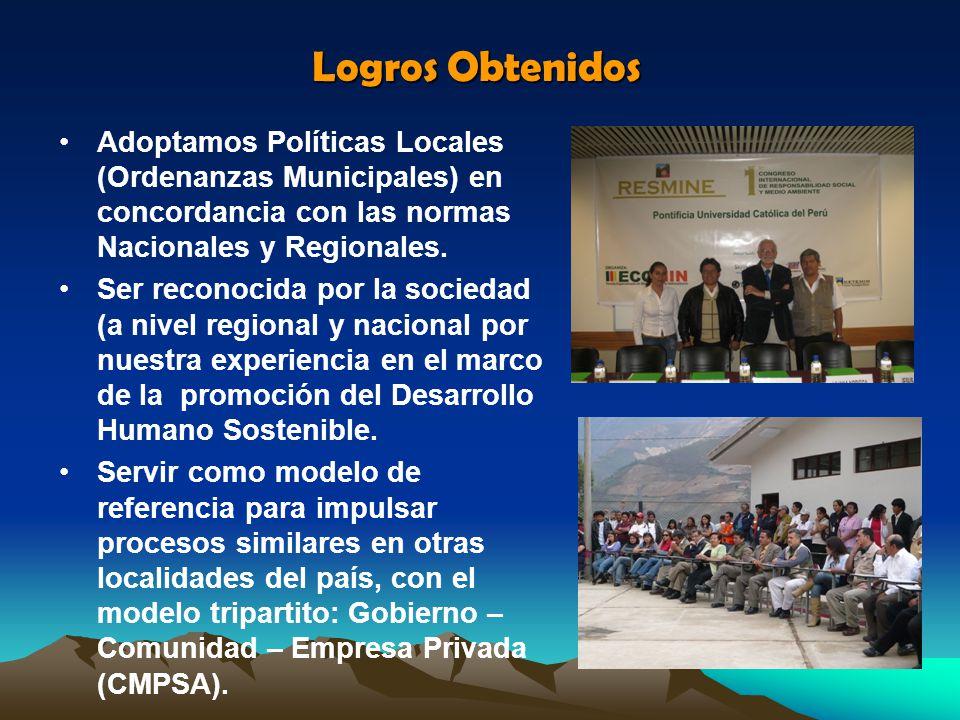 Adoptamos Políticas Locales (Ordenanzas Municipales) en concordancia con las normas Nacionales y Regionales. Ser reconocida por la sociedad (a nivel r