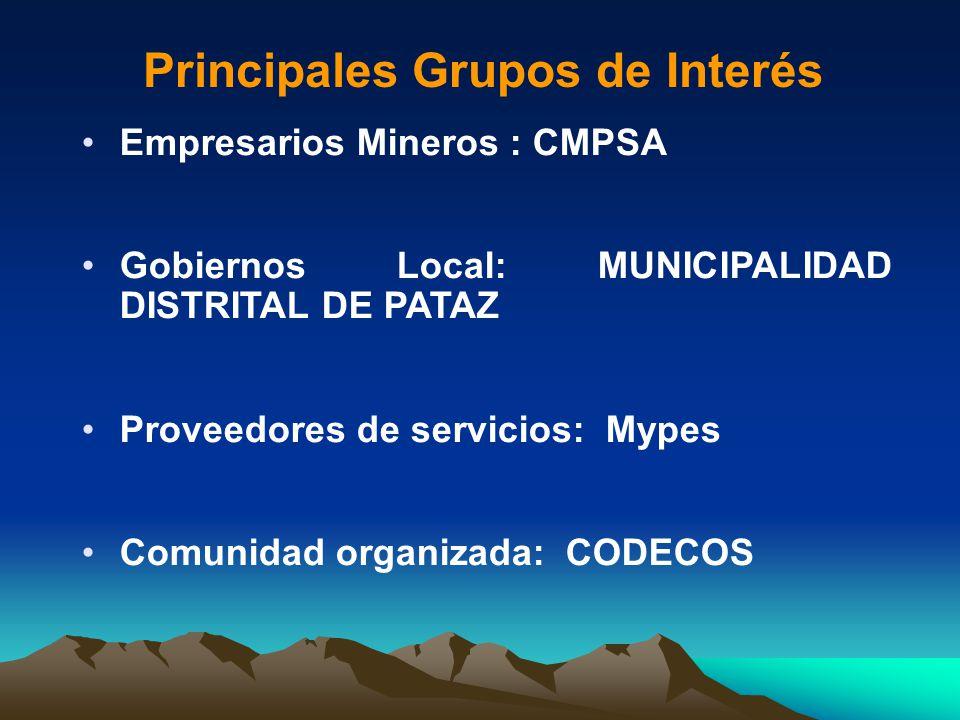 Empresarios Mineros : CMPSA Gobiernos Local: MUNICIPALIDAD DISTRITAL DE PATAZ Proveedores de servicios: Mypes Comunidad organizada: CODECOS Principale