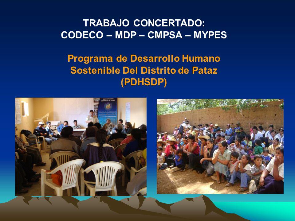 TRABAJO CONCERTADO: CODECO – MDP – CMPSA – MYPES Programa de Desarrollo Humano Sostenible Del Distrito de Pataz (PDHSDP)
