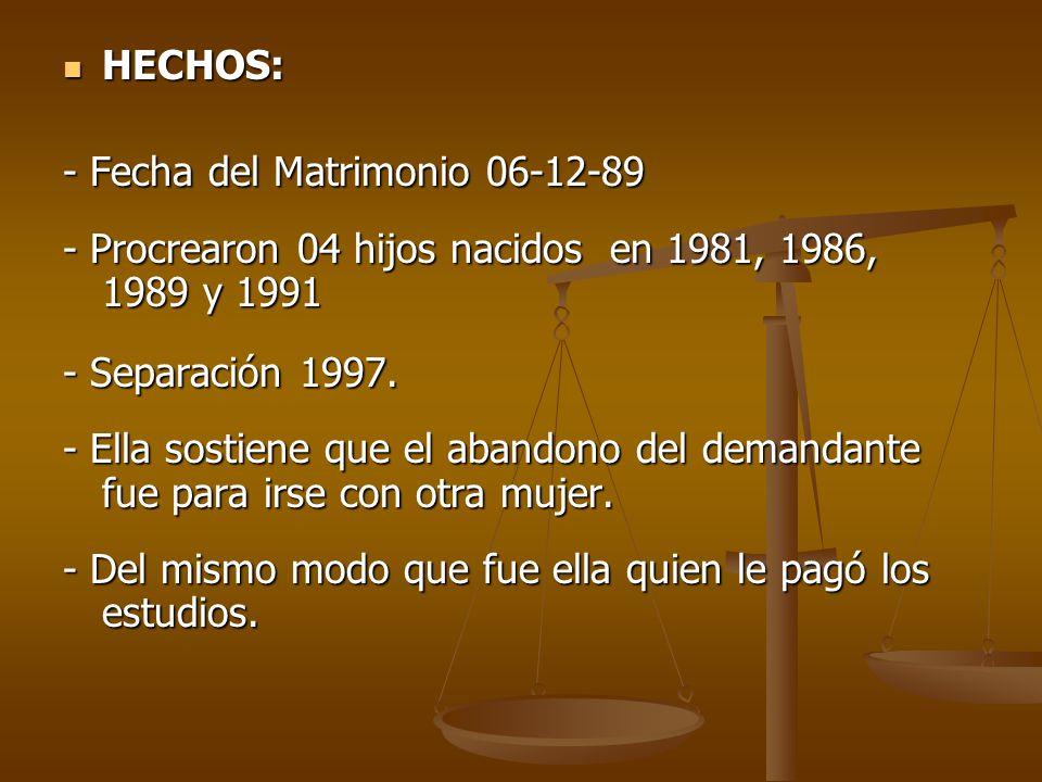 HECHOS: HECHOS: - Fecha del Matrimonio 06-12-89 - Procrearon 04 hijos nacidos en 1981, 1986, 1989 y 1991 - Separación 1997.