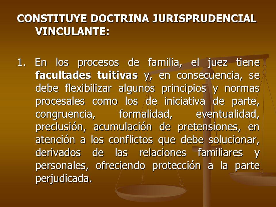 CONSTITUYE DOCTRINA JURISPRUDENCIAL VINCULANTE: 1.