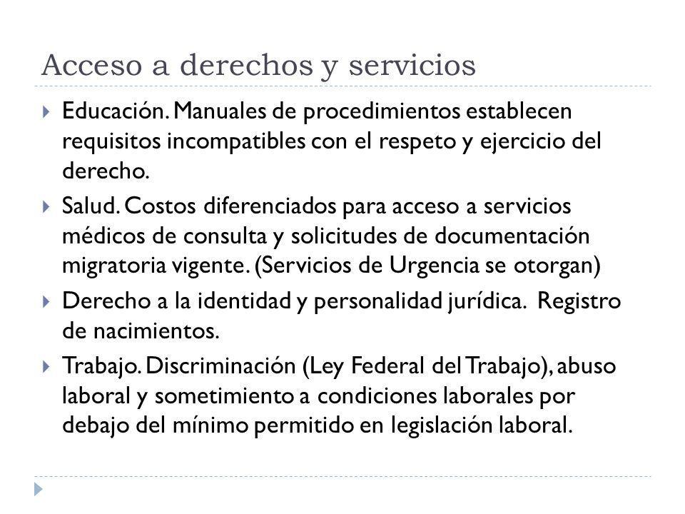 Acceso a derechos y servicios Educación. Manuales de procedimientos establecen requisitos incompatibles con el respeto y ejercicio del derecho. Salud.