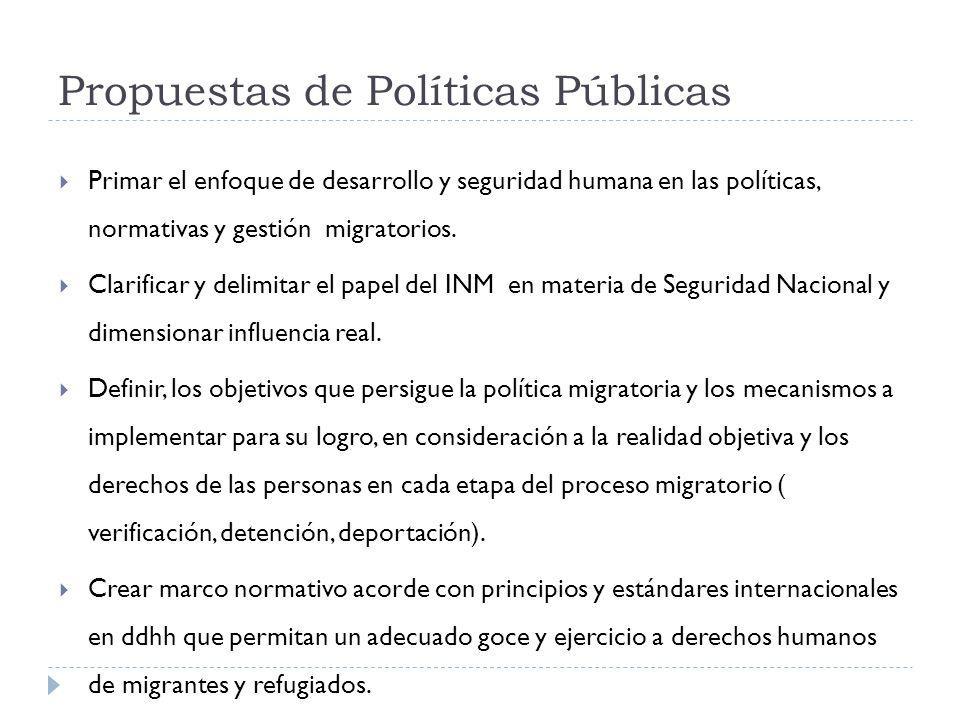 Propuestas de Políticas Públicas Primar el enfoque de desarrollo y seguridad humana en las políticas, normativas y gestión migratorios. Clarificar y d