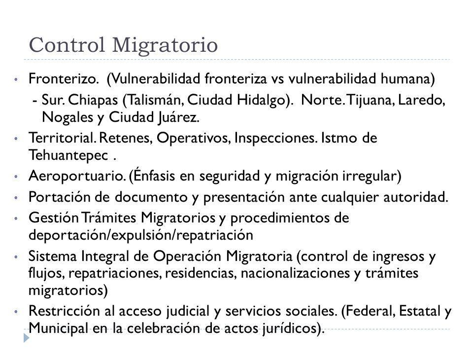 Control Migratorio Fronterizo. (Vulnerabilidad fronteriza vs vulnerabilidad humana) - Sur. Chiapas (Talismán, Ciudad Hidalgo). Norte. Tijuana, Laredo,