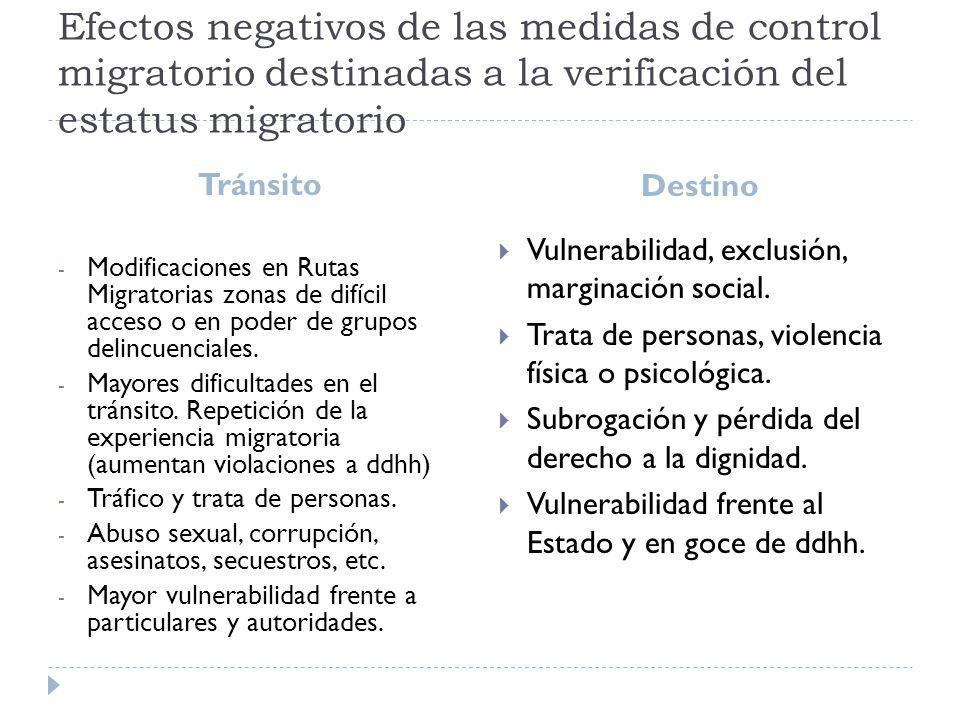 Efectos negativos de las medidas de control migratorio destinadas a la verificación del estatus migratorio Tránsito Destino - Modificaciones en Rutas