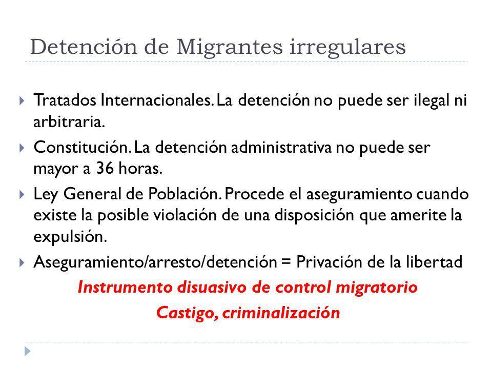 Detención de Migrantes irregulares Tratados Internacionales. La detención no puede ser ilegal ni arbitraria. Constitución. La detención administrativa