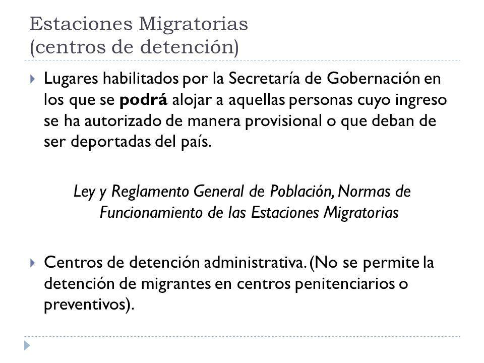 Estaciones Migratorias (centros de detención) Lugares habilitados por la Secretaría de Gobernación en los que se podrá alojar a aquellas personas cuyo