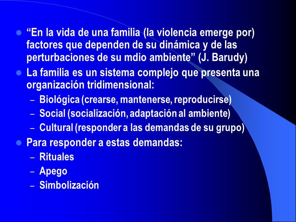 En la vida de una familia (la violencia emerge por) factores que dependen de su dinámica y de las perturbaciones de su mdio ambiente (J. Barudy) La fa