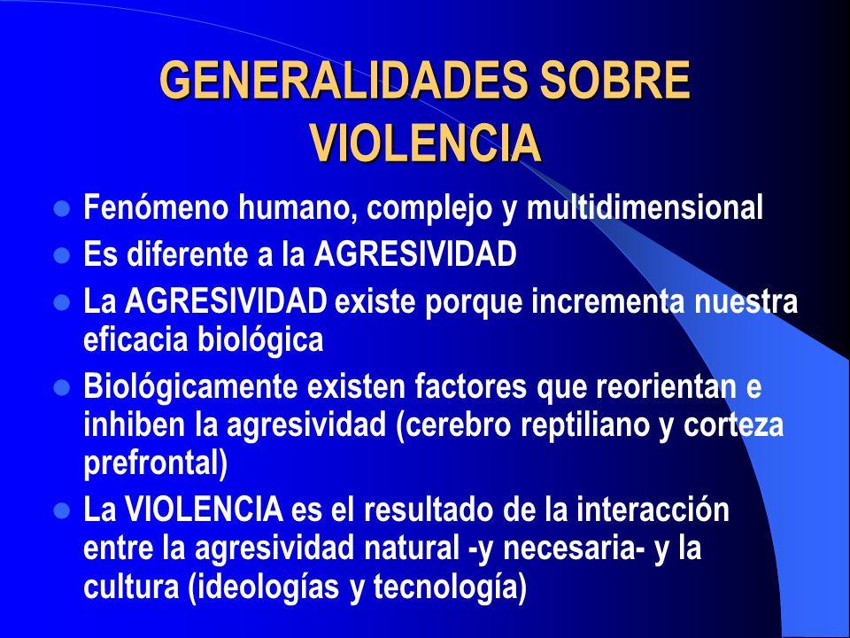GENERALIDADES SOBRE VIOLENCIA Fenómeno humano, complejo y multidimensional Es diferente a la AGRESIVIDAD La AGRESIVIDAD existe porque incrementa nuest