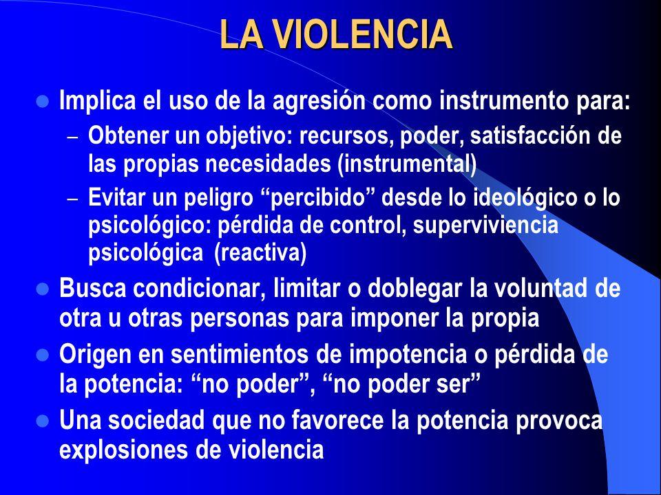 LA VIOLENCIA Implica el uso de la agresión como instrumento para: – Obtener un objetivo: recursos, poder, satisfacción de las propias necesidades (ins