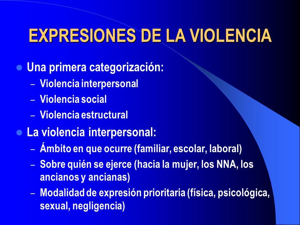 EXPRESIONES DE LA VIOLENCIA Una primera categorización: – Violencia interpersonal – Violencia social – Violencia estructural La violencia interpersona