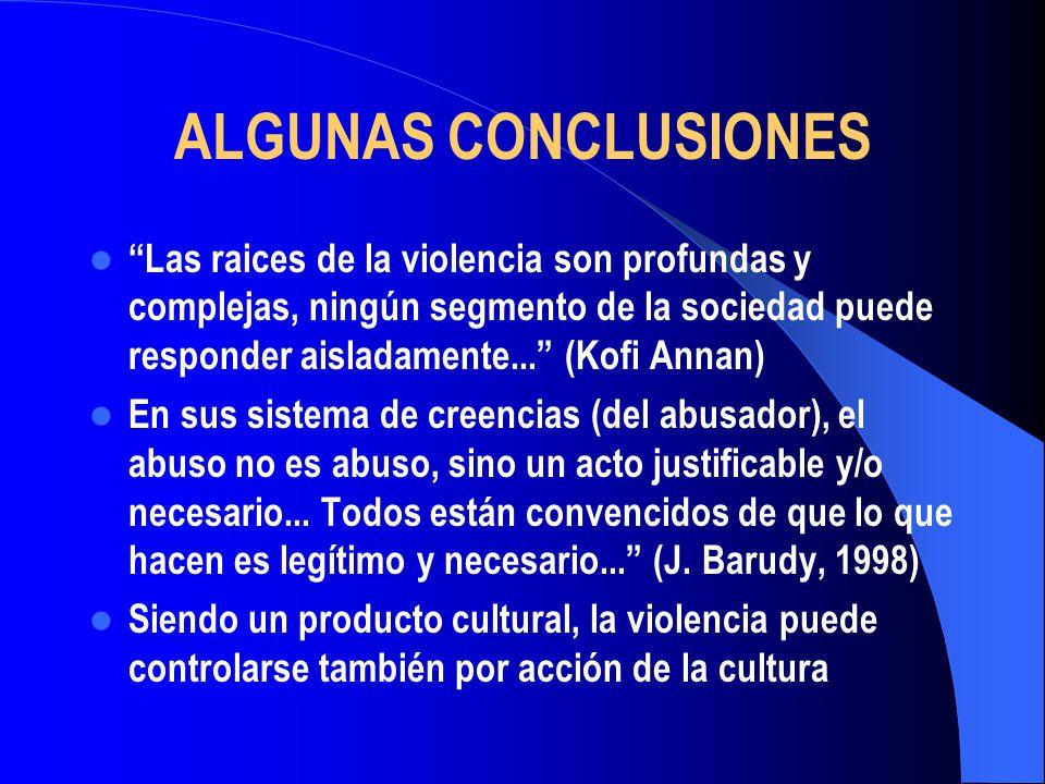 ALGUNAS CONCLUSIONES Las raices de la violencia son profundas y complejas, ningún segmento de la sociedad puede responder aisladamente... (Kofi Annan)