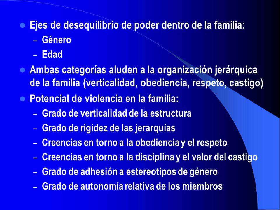 Ejes de desequilibrio de poder dentro de la familia: – Género – Edad Ambas categorías aluden a la organización jerárquica de la familia (verticalidad,