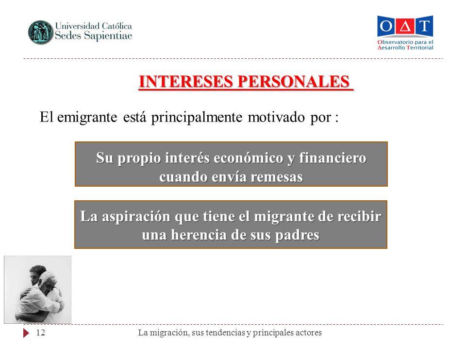 La migración, sus tendencias y principales actores12 INTERESES PERSONALES El emigrante está principalmente motivado por : Su propio interés económico