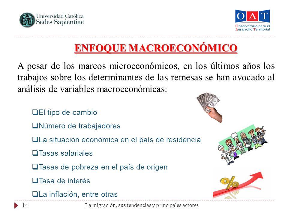La migración, sus tendencias y principales actores14 ENFOQUE MACROECONÓMICO A pesar de los marcos microeconómicos, en los últimos años los trabajos so