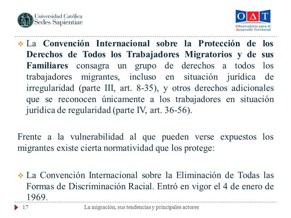 La Convención Internacional sobre la Protección de los Derechos de Todos los Trabajadores Migratorios y de sus Familiares consagra un grupo de derecho
