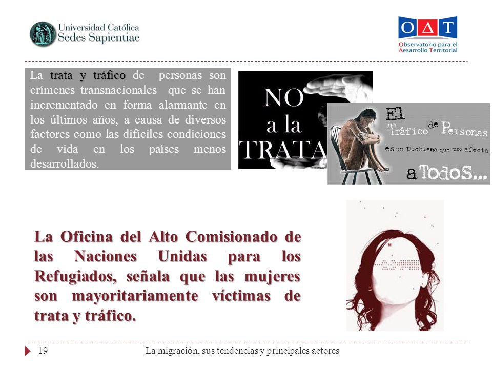 La migración, sus tendencias y principales actores19 trata y tráfico La trata y tráfico de personas son crímenes transnacionales que se han incrementa