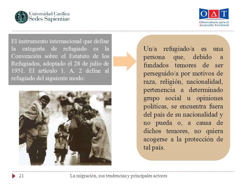 La migración, sus tendencias y principales actores21 El instrumento internacional que define la categoría de refugiado es la Convención sobre el Estat