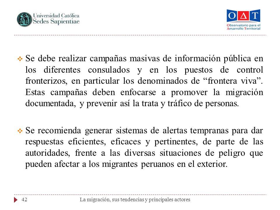 La migración, sus tendencias y principales actores42 Se debe realizar campañas masivas de información pública en los diferentes consulados y en los pu