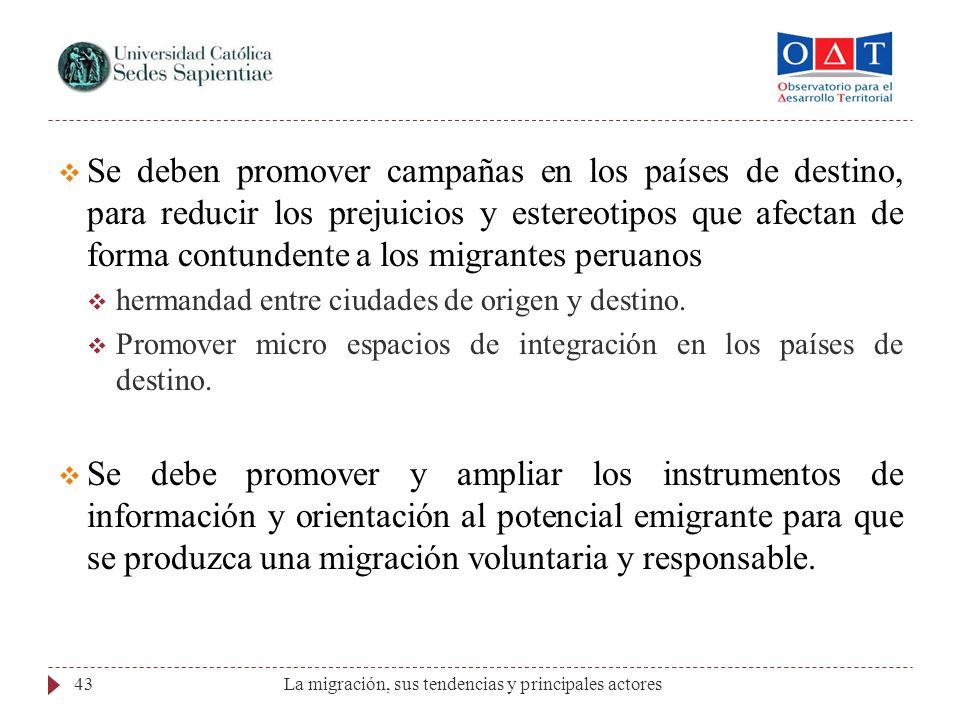 La migración, sus tendencias y principales actores43 Se deben promover campañas en los países de destino, para reducir los prejuicios y estereotipos q