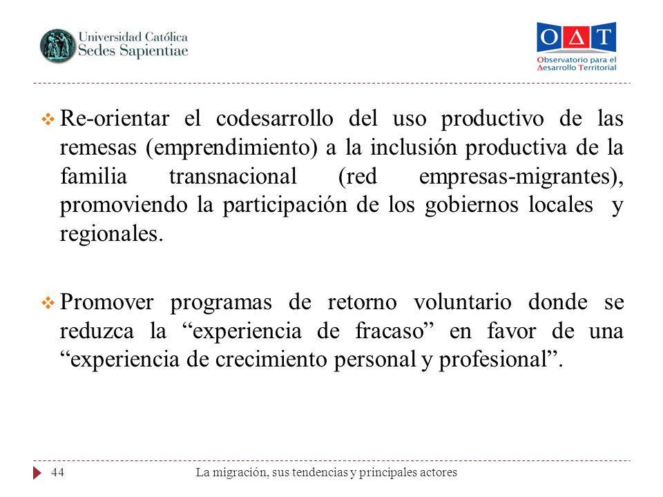 La migración, sus tendencias y principales actores44 Re-orientar el codesarrollo del uso productivo de las remesas (emprendimiento) a la inclusión pro