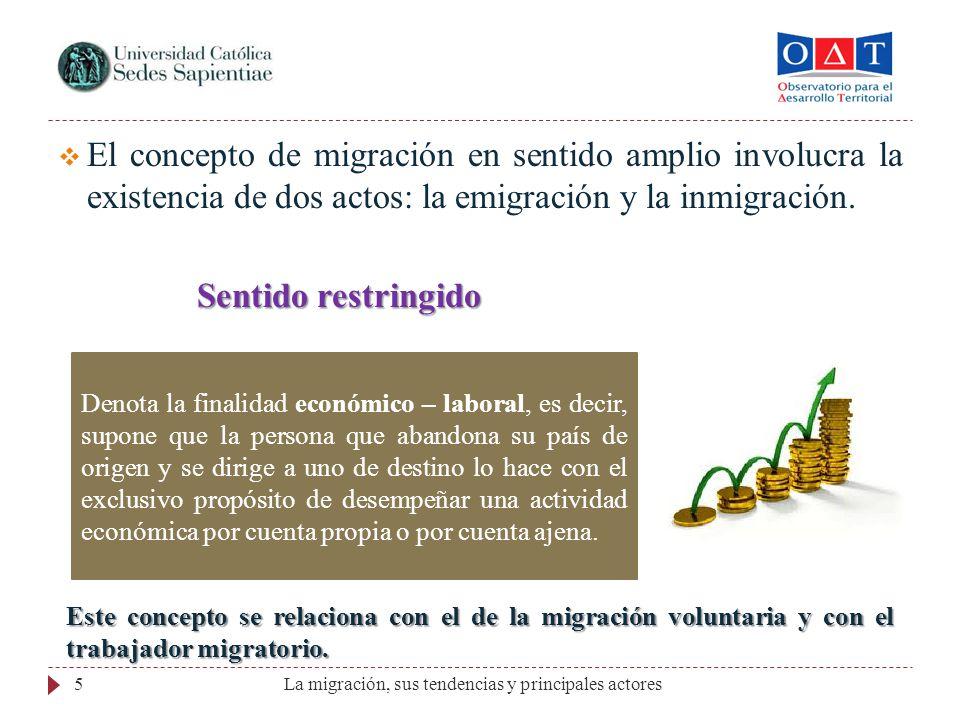 5 El concepto de migración en sentido amplio involucra la existencia de dos actos: la emigración y la inmigración. Sentido restringido Sentido restrin