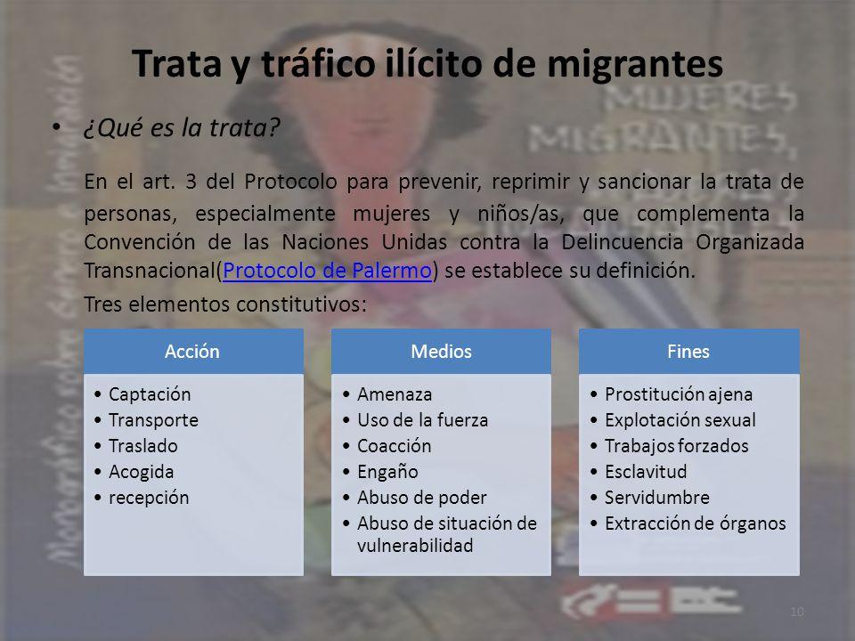 Trata y tráfico ilícito de migrantes ¿Qué es la trata? En el art. 3 del Protocolo para prevenir, reprimir y sancionar la trata de personas, especialme