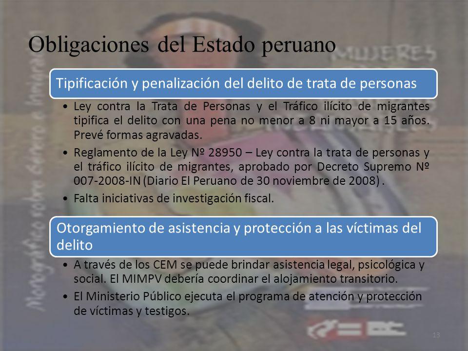 Obligaciones del Estado peruano 13 Tipificación y penalización del delito de trata de personas Ley contra la Trata de Personas y el Tráfico ilícito de