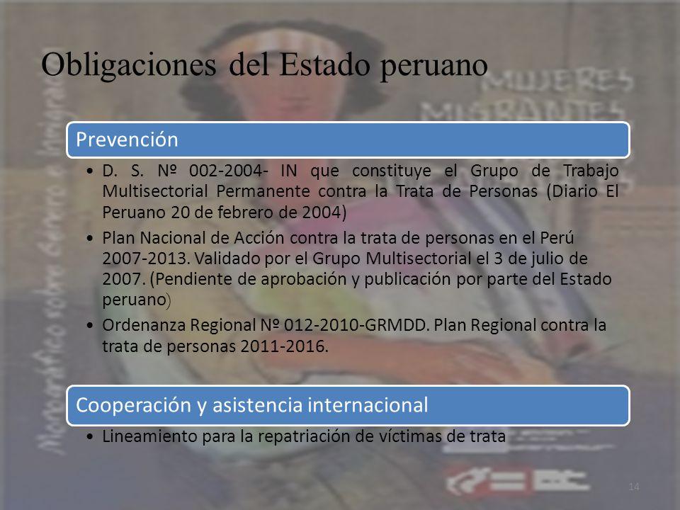 Obligaciones del Estado peruano 14 Prevención D. S. Nº 002-2004- IN que constituye el Grupo de Trabajo Multisectorial Permanente contra la Trata de Pe