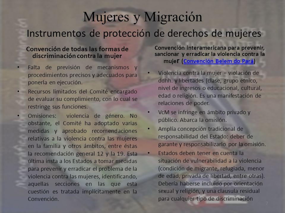 Mujeres y Migración Instrumentos de protección de derechos de mujeres Convención de todas las formas de discriminación contra la mujer Falta de previs