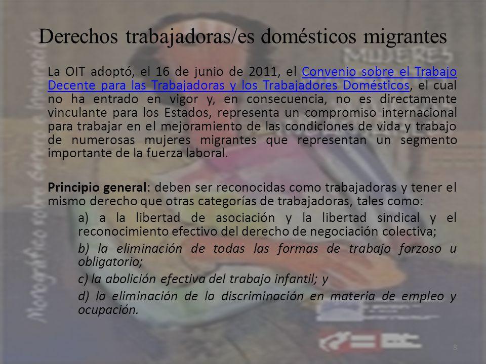 Derechos trabajadoras/es domésticos migrantes La OIT adoptó, el 16 de junio de 2011, el Convenio sobre el Trabajo Decente para las Trabajadoras y los