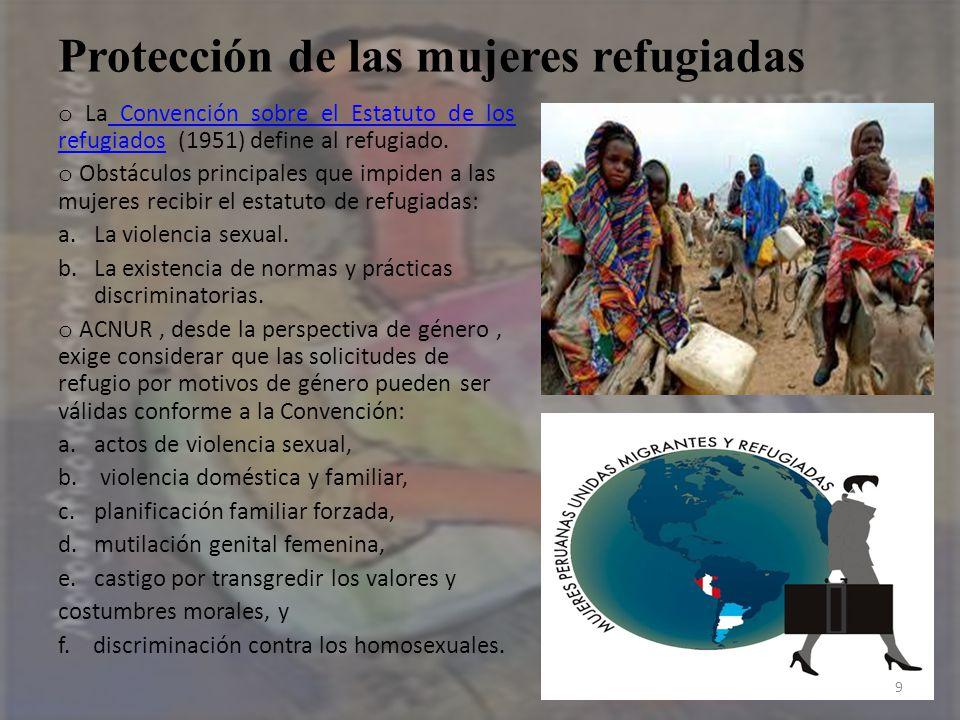 Protección de las mujeres refugiadas o La Convención sobre el Estatuto de los refugiados (1951) define al refugiado. Convención sobre el Estatuto de l