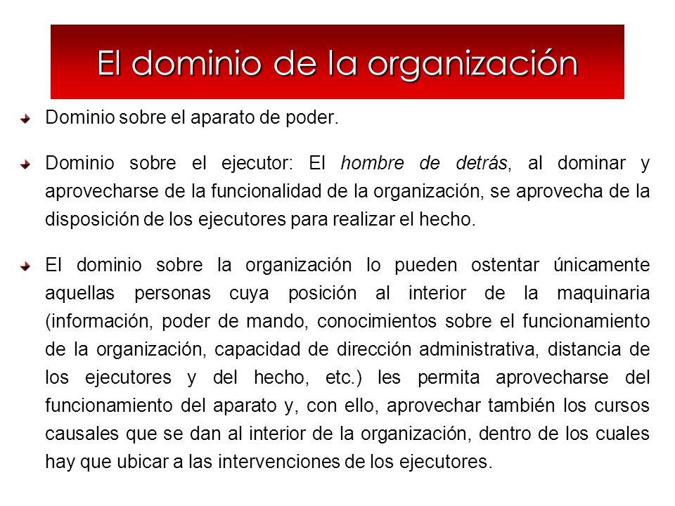 El dominio de la organización Dominio sobre el aparato de poder. Dominio sobre el ejecutor: El hombre de detrás, al dominar y aprovecharse de la funci
