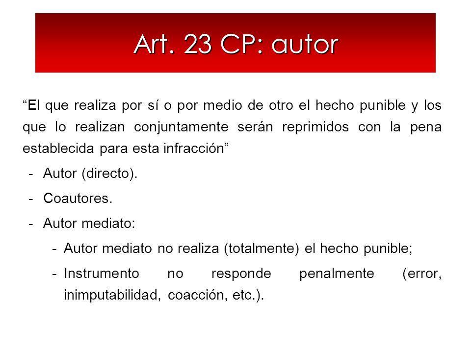 Art. 23 CP: autor El que realiza por sí o por medio de otro el hecho punible y los que lo realizan conjuntamente serán reprimidos con la pena establec