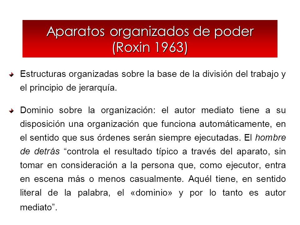 Aparatos organizados de poder (Roxin 1963) Estructuras organizadas sobre la base de la división del trabajo y el principio de jerarquía. Dominio sobre