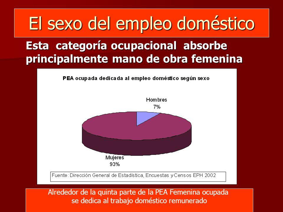 El sexo del empleo doméstico Esta categoría ocupacional absorbe principalmente mano de obra femenina Alrededor de la quinta parte de la PEA Femenina ocupada se dedica al trabajo doméstico remunerado