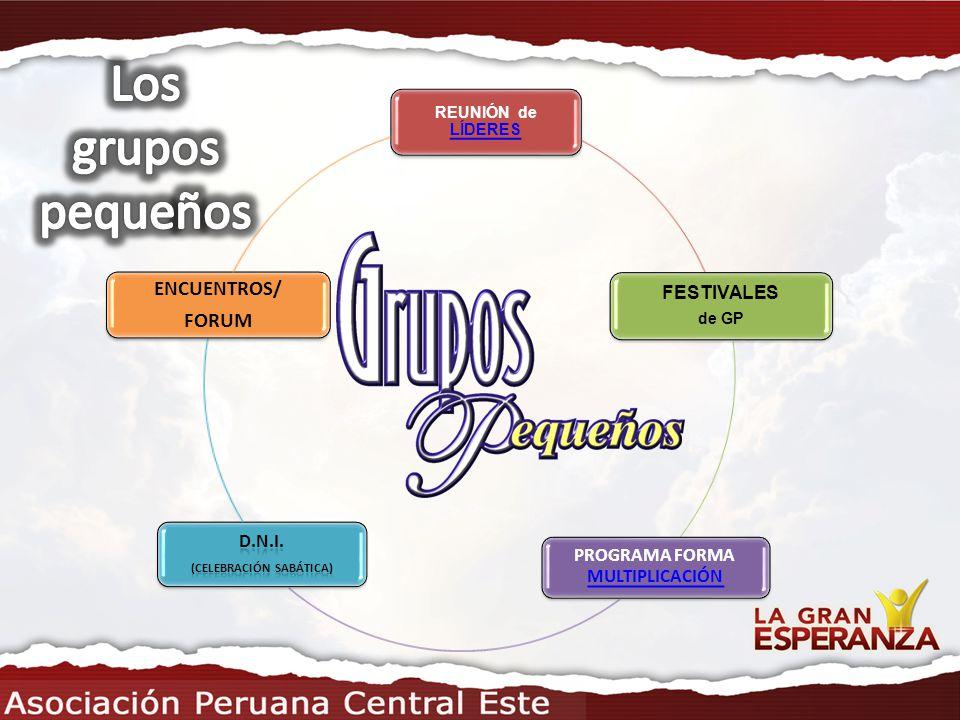 REUNIÓN de LÍDERES LÍDERES FESTIVALES de GP PROGRAMA FORMA MULTIPLICACIÓN MULTIPLICACIÓN ENCUENTROS/ FORUM