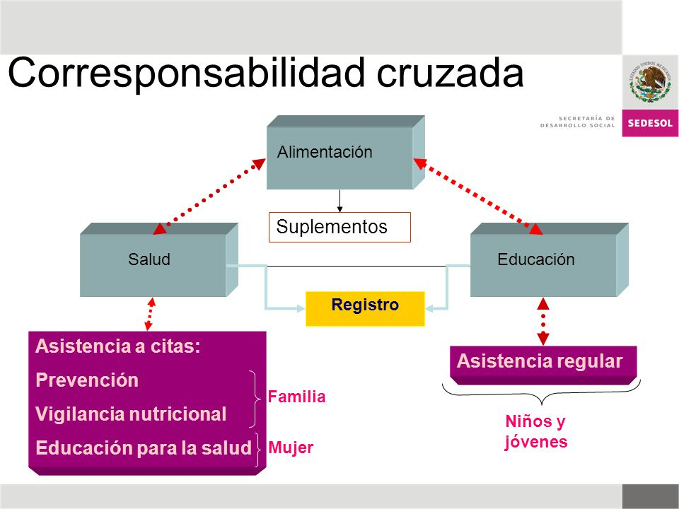 Salud Alimentación Educación Asistencia regular Asistencia a citas: Prevención Vigilancia nutricional Educación para la salud Suplementos Registro Fam