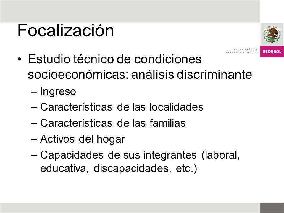 Focalización Estudio técnico de condiciones socioeconómicas: análisis discriminante –Ingreso –Características de las localidades –Características de l