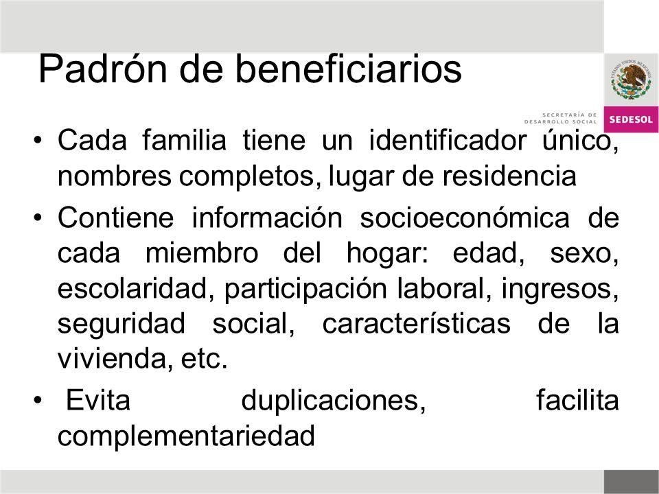 Padrón de beneficiarios Cada familia tiene un identificador único, nombres completos, lugar de residencia Contiene información socioeconómica de cada