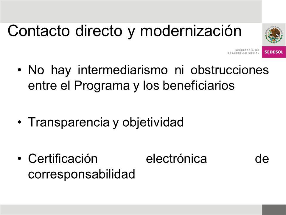Contacto directo y modernización No hay intermediarismo ni obstrucciones entre el Programa y los beneficiarios Transparencia y objetividad Certificaci