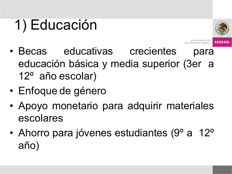 1) Educación Becas educativas crecientes para educación básica y media superior (3er a 12º año escolar) Enfoque de género Apoyo monetario para adquiri