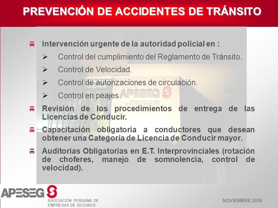 NOVIEMBRE 2006 ASOCIACION PERUANA DE EMPRESAS DE SEGUROS Intervención urgente de la autoridad policial en : Control del cumplimiento del Reglamento de