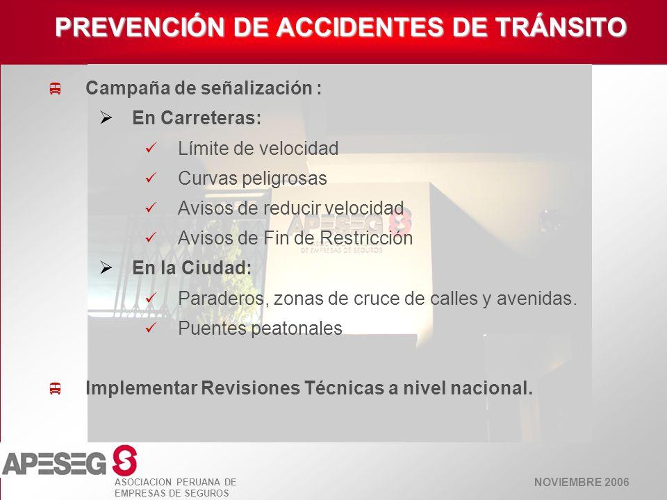 NOVIEMBRE 2006 ASOCIACION PERUANA DE EMPRESAS DE SEGUROS Campaña de señalización : En Carreteras: Límite de velocidad Curvas peligrosas Avisos de redu