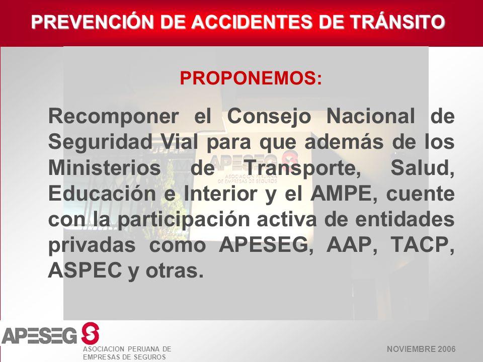 NOVIEMBRE 2006 ASOCIACION PERUANA DE EMPRESAS DE SEGUROS PREVENCIÓN DE ACCIDENTES DE TRÁNSITO PROPONEMOS: Recomponer el Consejo Nacional de Seguridad