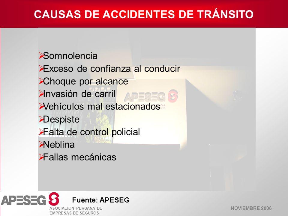 NOVIEMBRE 2006 ASOCIACION PERUANA DE EMPRESAS DE SEGUROS CAUSAS DE ACCIDENTES DE TRÁNSITO Fuente: APESEG Somnolencia Exceso de confianza al conducir C