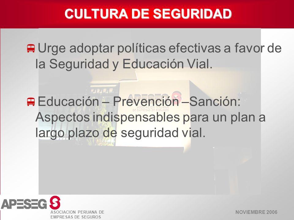 NOVIEMBRE 2006 ASOCIACION PERUANA DE EMPRESAS DE SEGUROS EDUCACIÓN VIAL Fortalecer la prevención a partir de la educación.