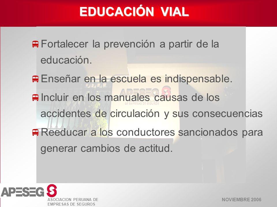 NOVIEMBRE 2006 ASOCIACION PERUANA DE EMPRESAS DE SEGUROS EDUCACIÓN VIAL Fortalecer la prevención a partir de la educación. Enseñar en la escuela es in